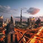The Burj Khalifa in Downtown Dubai at night
